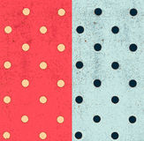 Polka-dot seamless patterns, grunge background with dots Stock Photos