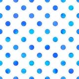 Polka Dot Seamless Texture Blauwe waterverfcirkels vector illustratie