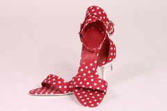 Polka dot shoes. Womens red and white polka dot shoes Royalty Free Stock Photo