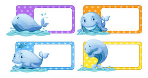 Polka dot stickers with whales Royalty Free Stock Photography