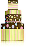 Polka Dot Stripped Green, Pink, Yellow Presents Stock Photos