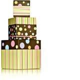 Polka Dot Stripped Green, Pink, Yellow Presents Stock Photos