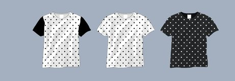 Polka dot t shirt black and white template. vector illustration