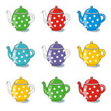 Polka-dot teapots Stock Photo