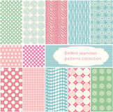 Polka dot - vector dotted seamless patterns collection. Simple round geometrical  pattern  set in retro style Royalty Free Stock Image