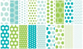 Blue & Green Polka Dots. Blue and green polka dot background patterns for a variety of uses Royalty Free Stock Images