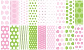 Pink& Green Polka Dots. Polka dot background patterns for a variety of uses Stock Image