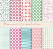 Polka dot vector seamless pattern. vintage dotted shabby chick backgrounds collection. Stock Images
