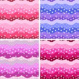 Polka dot and waves. Frills. Set of four cute seamless patterns. In color of petal of flower hollyhock, delphinium, cosmos vector illustration