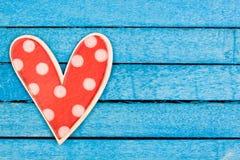 Polka dot wooden heart Stock Photos