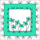 Polka dots and bows frame. Invitation card or tag frame with polka dots and flowers and inner space for text Stock Image