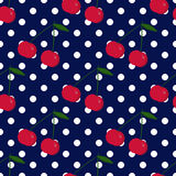 Polka dots and cherries seamless background. Cute and simple  retro  seamless background Royalty Free Stock Images
