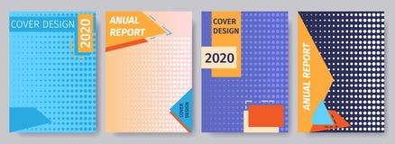 Polka Dots Cover Design för årsrapportuppsättningen 2020 stock illustrationer
