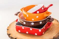 Polka dots dish Royalty Free Stock Images