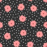 Polka dots and flowers painted with brush. Cute floral seamless pattern. Vector illustration Royalty Free Stock Images