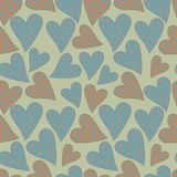 Polka dots hearts seamless pattern. On beige background Royalty Free Stock Image