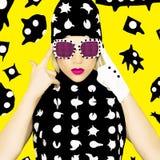 Polka Dots Monster Girl. Glamorous Disco style stock photography
