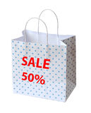 Polka dots paper bag isolate Stock Photography