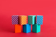 Polka dots pattern boxes abstract colorful on green orange blue blocks. Seamless design geometrical objects, red royalty free stock image