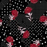 Polka dots pattern mix in different size of circle on top with o. Riental blooming red flowers seamless pattern vector for fashion fabric and all prints on black royalty free illustration