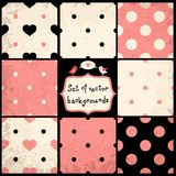 Polka Dots Set. Set of Cute Seamless Vector Patterns with Polka Dots and Hearts Royalty Free Stock Image