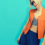 Polka dots and strip combination of fashion style. Glamorous Lad Royalty Free Stock Photo