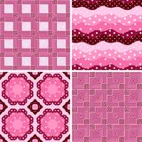 Polka dots, striped, ornamental, patchwork vector seamless patterns. In color of petal of flower verbena -2 Royalty Free Stock Photo