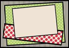 Polka dots and stripes border frame. Cardboard like frame with polka dots pattern background and stripes Stock Image