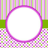 Polka dots and stripes circular border frame. Frame in a circle shape and background with polka dots and stripes pattern Royalty Free Stock Photo