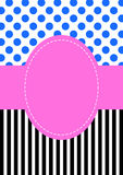 Polka dots and stripes pattern invitation card Stock Image