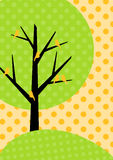 Polka Dots Tree Greeting Card. Greeting card with birds on polka dots tree Stock Images