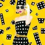 Polka Dots Vintage Lady Royalty-vrije Stock Afbeelding