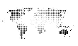 Polka dotted map of the world. Stylish polka dotted black and white map of the world royalty free illustration