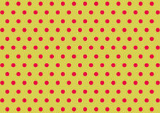 Polka dotted pink on yellow background | Cute colorful pattern fabric decoration modern design Stock Image