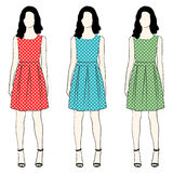 Polka dress fashion Stock Photography