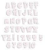 polka för pink för akrylalfabetprick Arkivfoto