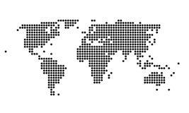 Polka gestippelde kaart van de wereld Stock Foto's