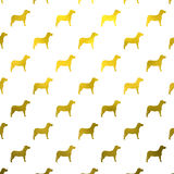 Polka métallique Dots White Background de chien d'aluminium de Faux de chiens d'or Image libre de droits