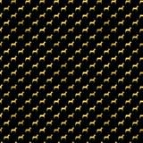 Polka metallica Dots Black Background del cane della stagnola del Faux dei cani dell'oro Immagini Stock Libere da Diritti