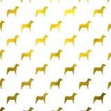 Polka metallica Dots White Background del cane della stagnola del Faux dei cani dell'oro Immagine Stock Libera da Diritti