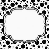 Polka noire et blanche Dot Background avec la broderie illustration de vecteur