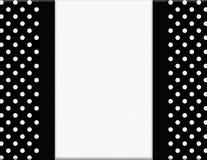 Polka noire et blanche Dot Frame avec le fond de ruban Photo stock