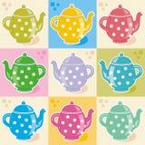 Polka-Punkt Teekannen Stockbilder