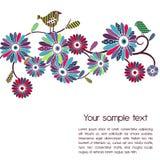 Polka-punt bloemen en vogels stock illustratie