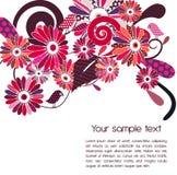 Polka-punt bloemen en vogels royalty-vrije illustratie