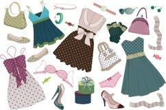Polka-puntini dei vestiti Fotografia Stock