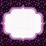 Polka rose et noire Dot Thank You Frame Background Photographie stock libre de droits