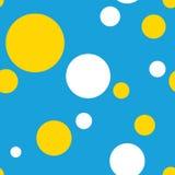 Polka sans couture Dot Pattern Background dans bleu, le blanc et le jaune Illustration de Vecteur