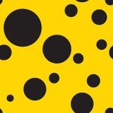 Polka sans couture Dot Pattern Background en jaune et noir Illustration Stock