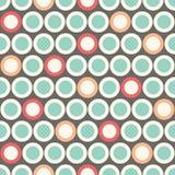 Polka senza cuciture Dot Pattern di retro vettore del MOD in blu, rosso, arancio su fondo beige Stampa grafica alla moda di Abstr Immagine Stock Libera da Diritti